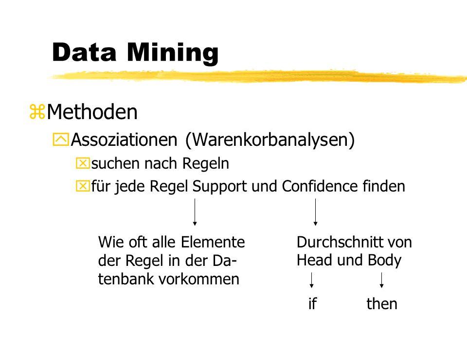 Data Mining zPreprocessing: yData Formatting yData Cleaning yData Filterning yBehandlung von invalid values yBehandlung von Ausreißern yBehandlung von missing values yBehandlung von sparse columns/tables ySampling yBerechnung neuer Variablen yFestsetzen von valid values yGebrauch von Taxonomien yName Mapping yValue Mapping yDiskretisierung yPivotisierung yData Coding/Neuronale Netze