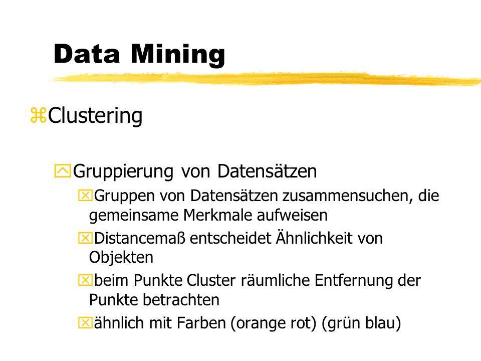 Data Mining zKlassifikationen yNeuronale Netze yBaumklassifikationen Wohnort BremenBerlin Gehalt Schlechter KundeGuter Kunde < 5000> 5000