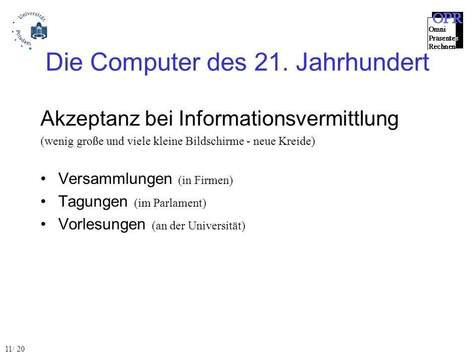 Die Computer des 21. Jahrhundert Akzeptanz bei Informationsvermittlung (wenig große und viele kleine Bildschirme - neue Kreide) Versammlungen (in Firm