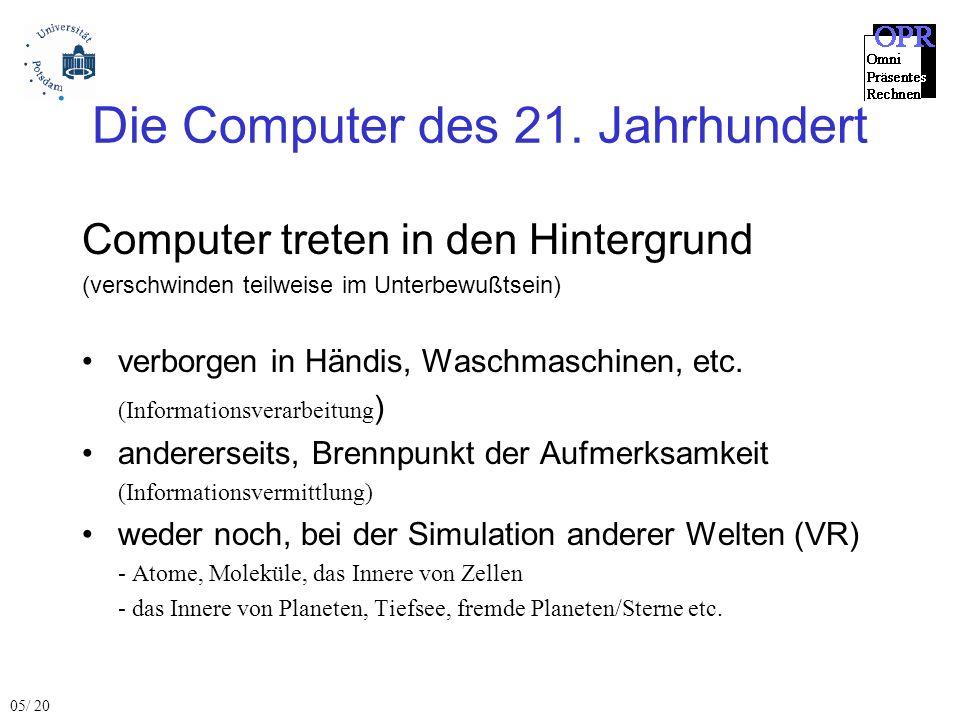 Die Computer des 21. Jahrhundert Computer treten in den Hintergrund (verschwinden teilweise im Unterbewußtsein) verborgen in Händis, Waschmaschinen, e