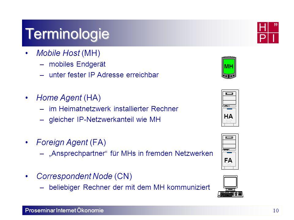 Proseminar Internet Ökonomie 10 Terminologie Mobile Host (MH) –mobiles Endgerät –unter fester IP Adresse erreichbar Home Agent (HA) –im Heimatnetzwerk
