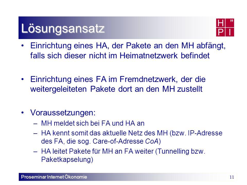 Proseminar Internet Ökonomie 11 Lösungsansatz Einrichtung eines HA, der Pakete an den MH abfängt, falls sich dieser nicht im Heimatnetzwerk befindet E