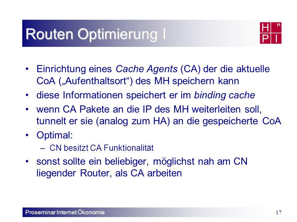 Proseminar Internet Ökonomie 17 Routen Optimierung I Einrichtung eines Cache Agents (CA) der die aktuelle CoA (Aufenthaltsort) des MH speichern kann d