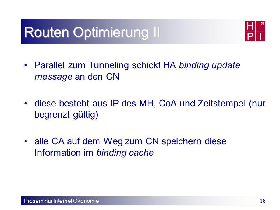 Proseminar Internet Ökonomie 18 Routen Optimierung II Parallel zum Tunneling schickt HA binding update message an den CN diese besteht aus IP des MH,