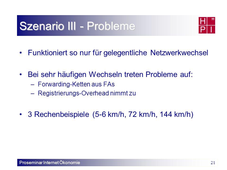 Proseminar Internet Ökonomie 21 Szenario III - Probleme Funktioniert so nur für gelegentliche Netzwerkwechsel Bei sehr häufigen Wechseln treten Proble