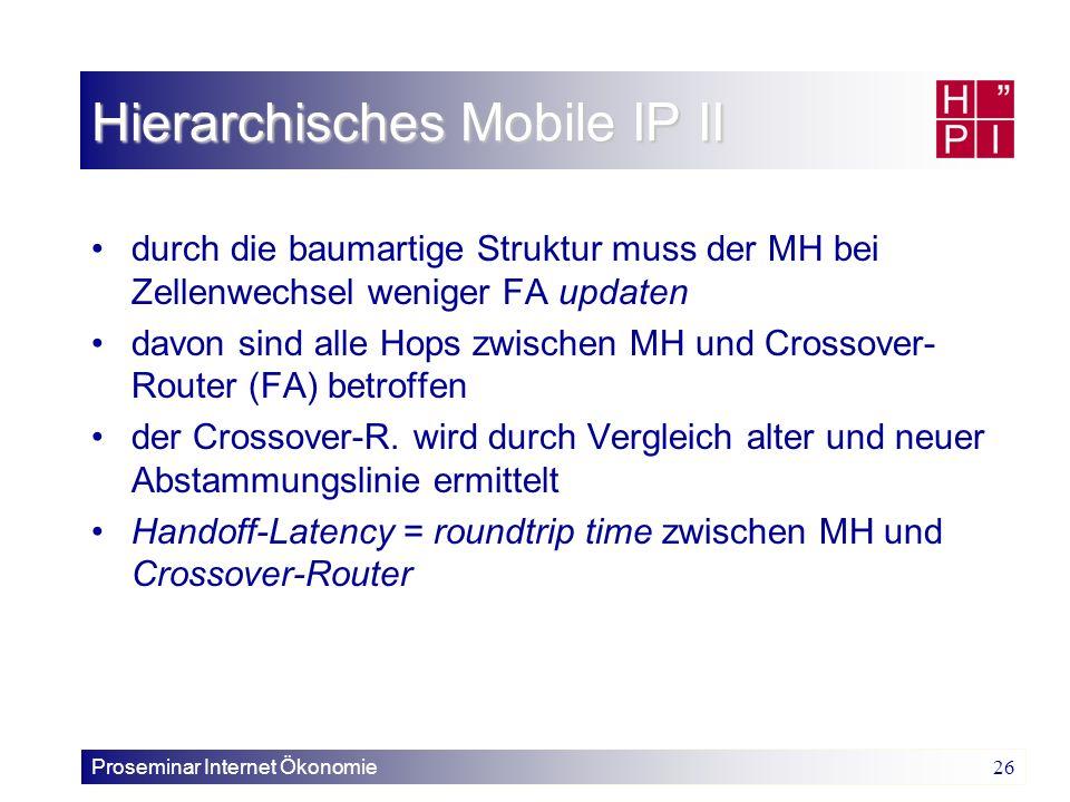 Proseminar Internet Ökonomie 26 Hierarchisches Mobile IP II durch die baumartige Struktur muss der MH bei Zellenwechsel weniger FA updaten davon sind