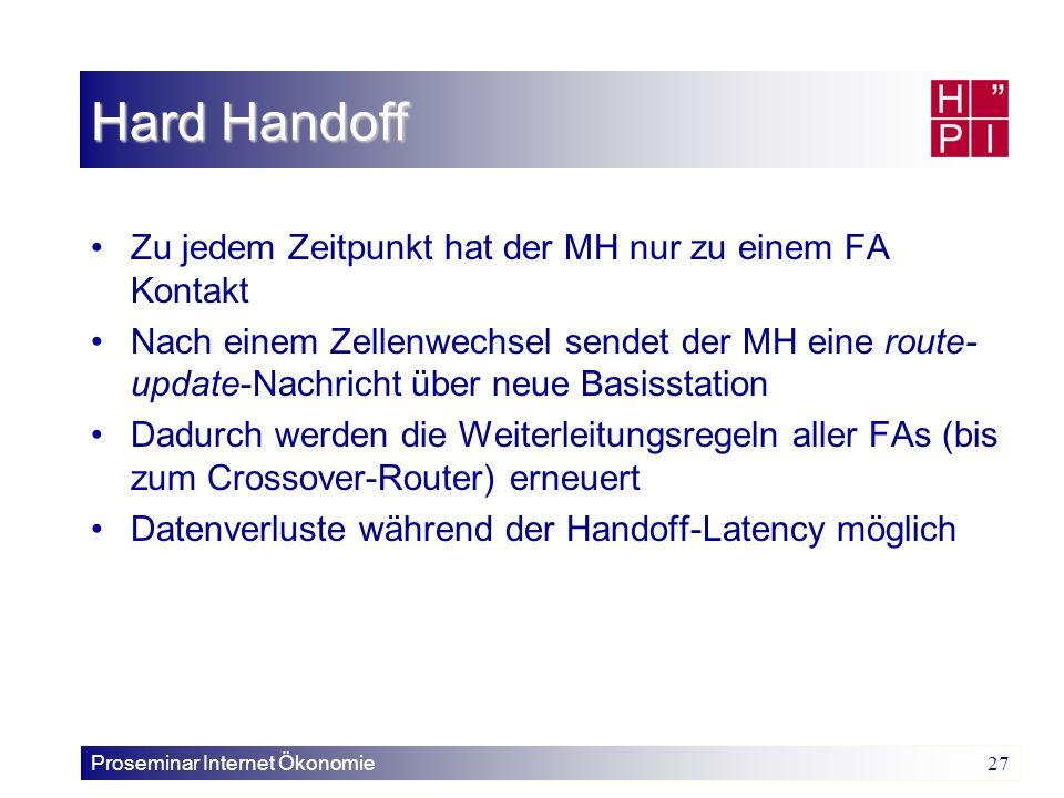 Proseminar Internet Ökonomie 27 Hard Handoff Zu jedem Zeitpunkt hat der MH nur zu einem FA Kontakt Nach einem Zellenwechsel sendet der MH eine route-