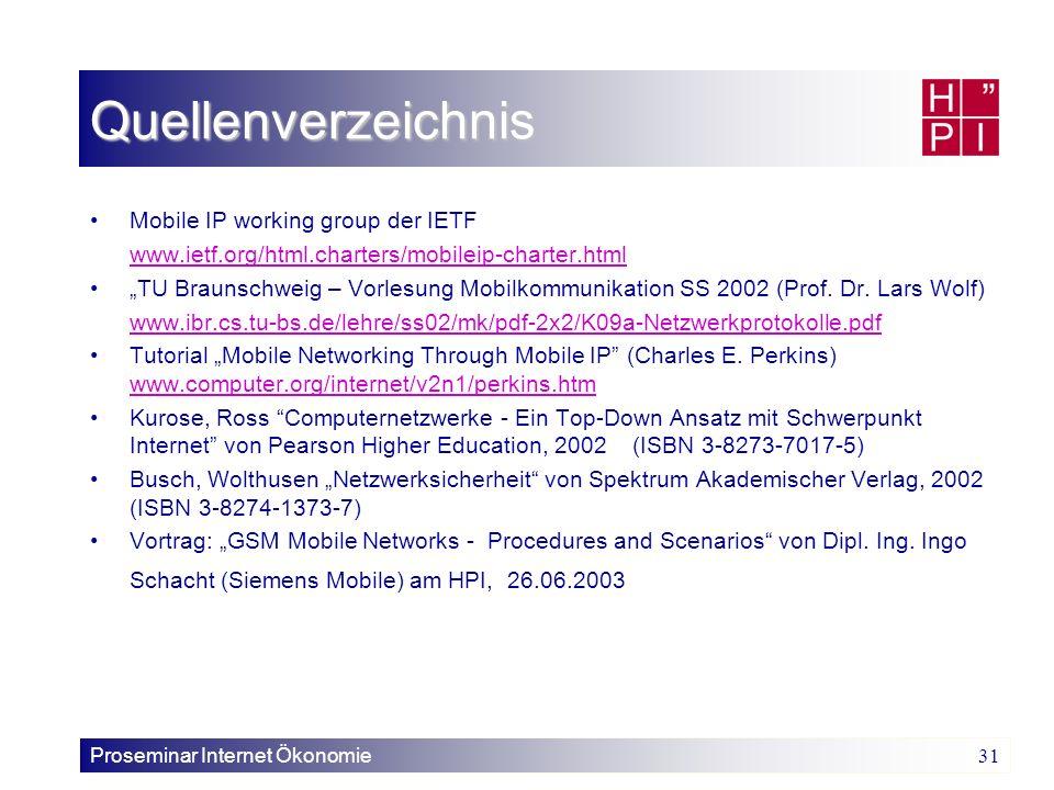 Proseminar Internet Ökonomie 31 Quellenverzeichnis Mobile IP working group der IETF www.ietf.org/html.charters/mobileip-charter.html TU Braunschweig –