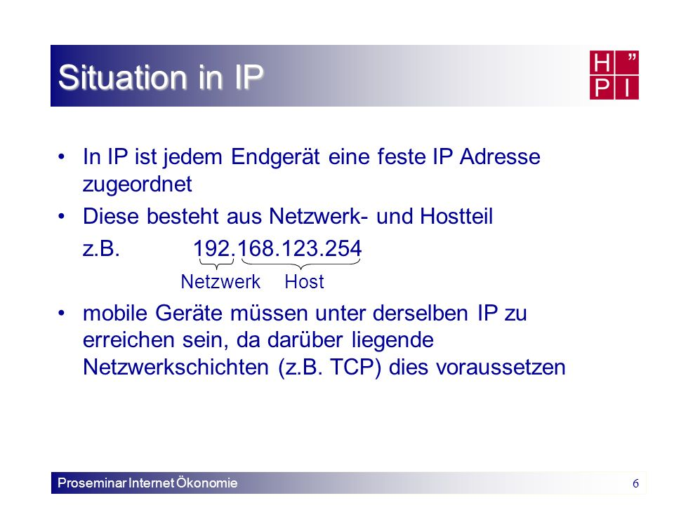 Proseminar Internet Ökonomie 6 In IP ist jedem Endgerät eine feste IP Adresse zugeordnet Diese besteht aus Netzwerk- und Hostteil z.B.192.168.123.254