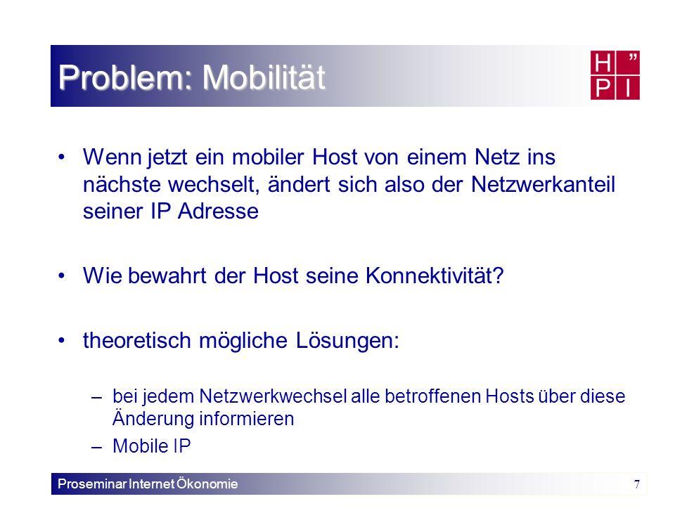 Proseminar Internet Ökonomie 7 Problem: Mobilität Wenn jetzt ein mobiler Host von einem Netz ins nächste wechselt, ändert sich also der Netzwerkanteil