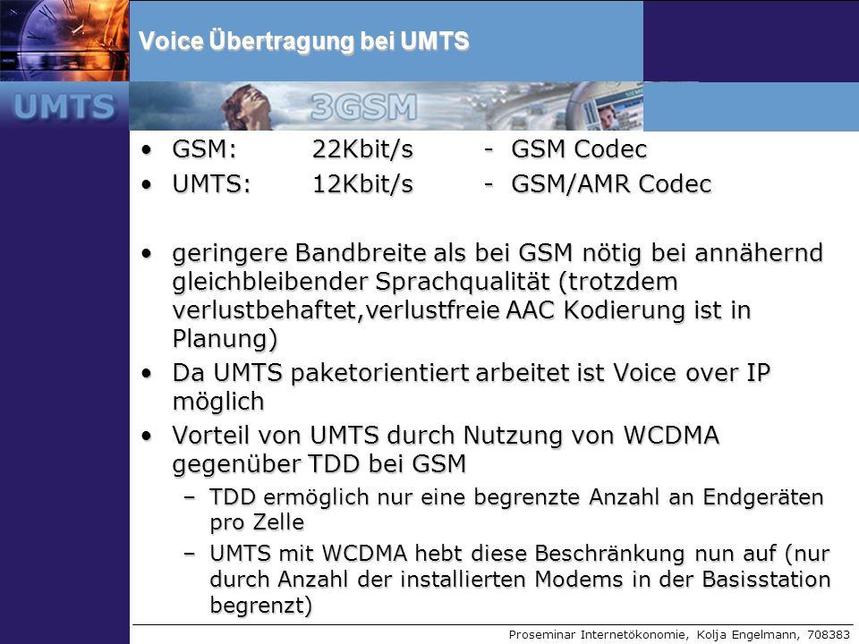 Proseminar Internetökonomie, Kolja Engelmann, 708383 Voice Übertragung bei UMTS GSM: 22Kbit/s - GSM CodecGSM: 22Kbit/s - GSM Codec UMTS:12Kbit/s - GSM
