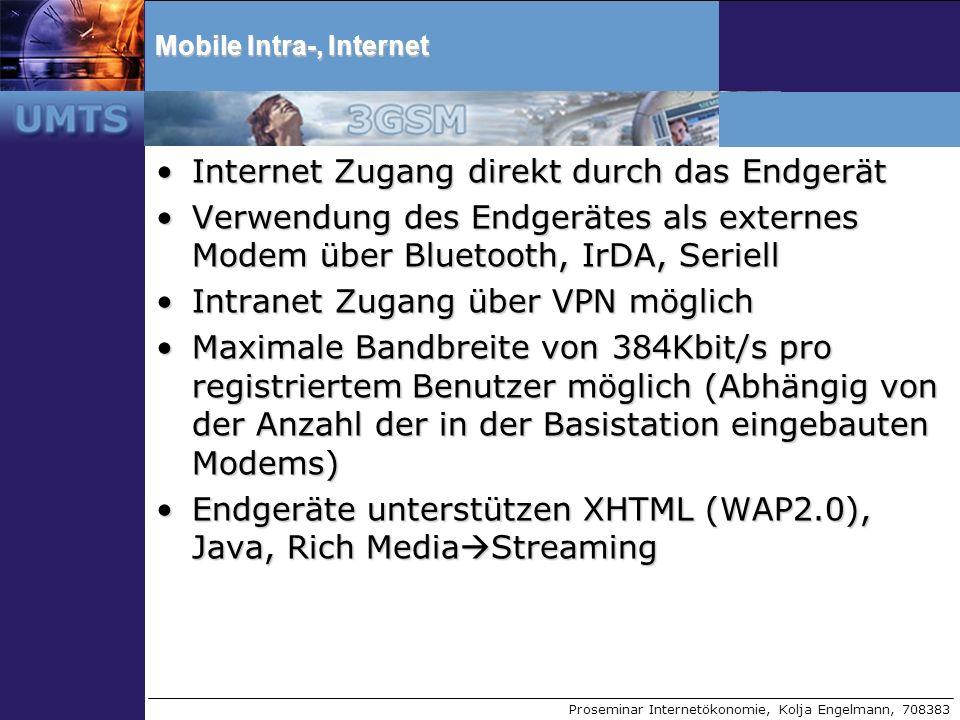 Proseminar Internetökonomie, Kolja Engelmann, 708383 Mobile Intra-, Internet Internet Zugang direkt durch das EndgerätInternet Zugang direkt durch das