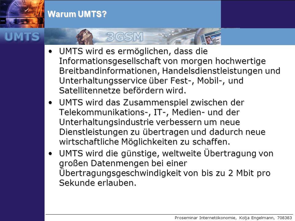 Proseminar Internetökonomie, Kolja Engelmann, 708383 Voice Übertragung bei UMTS GSM: 22Kbit/s - GSM CodecGSM: 22Kbit/s - GSM Codec UMTS:12Kbit/s - GSM/AMR CodecUMTS:12Kbit/s - GSM/AMR Codec geringere Bandbreite als bei GSM nötig bei annähernd gleichbleibender Sprachqualität (trotzdem verlustbehaftet,verlustfreie AAC Kodierung ist in Planung)geringere Bandbreite als bei GSM nötig bei annähernd gleichbleibender Sprachqualität (trotzdem verlustbehaftet,verlustfreie AAC Kodierung ist in Planung) Da UMTS paketorientiert arbeitet ist Voice over IP möglichDa UMTS paketorientiert arbeitet ist Voice over IP möglich Vorteil von UMTS durch Nutzung von WCDMA gegenüber TDD bei GSMVorteil von UMTS durch Nutzung von WCDMA gegenüber TDD bei GSM –TDD ermöglich nur eine begrenzte Anzahl an Endgeräten pro Zelle –UMTS mit WCDMA hebt diese Beschränkung nun auf (nur durch Anzahl der installierten Modems in der Basisstation begrenzt)
