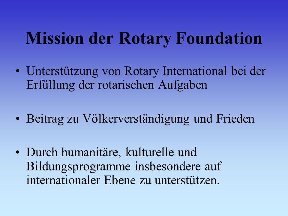 Mission der Rotary Foundation Unterstützung von Rotary International bei der Erfüllung der rotarischen Aufgaben Beitrag zu Völkerverständigung und Frieden Durch humanitäre, kulturelle und Bildungsprogramme insbesondere auf internationaler Ebene zu unterstützen.