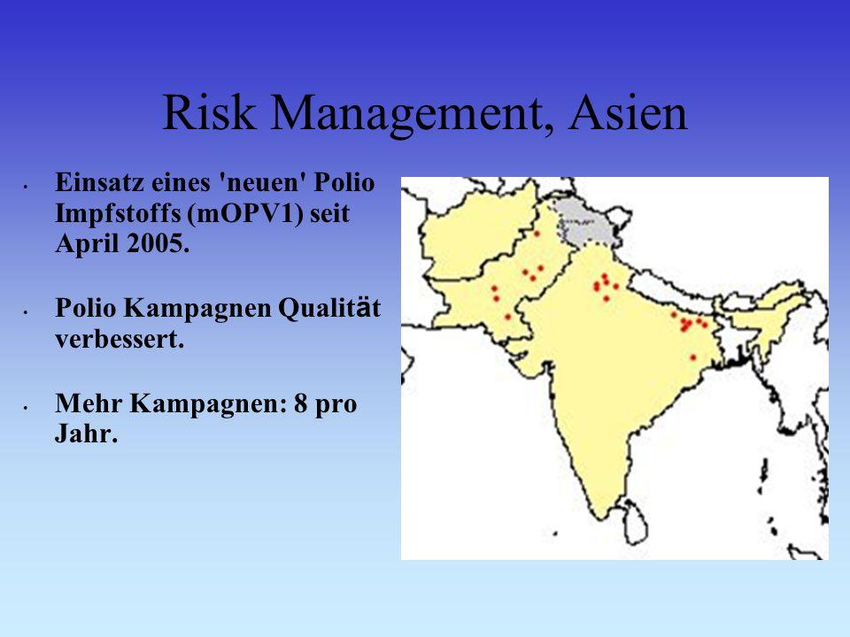 Risk Management, Asien Einsatz eines neuen Polio Impfstoffs (mOPV1) seit April 2005.