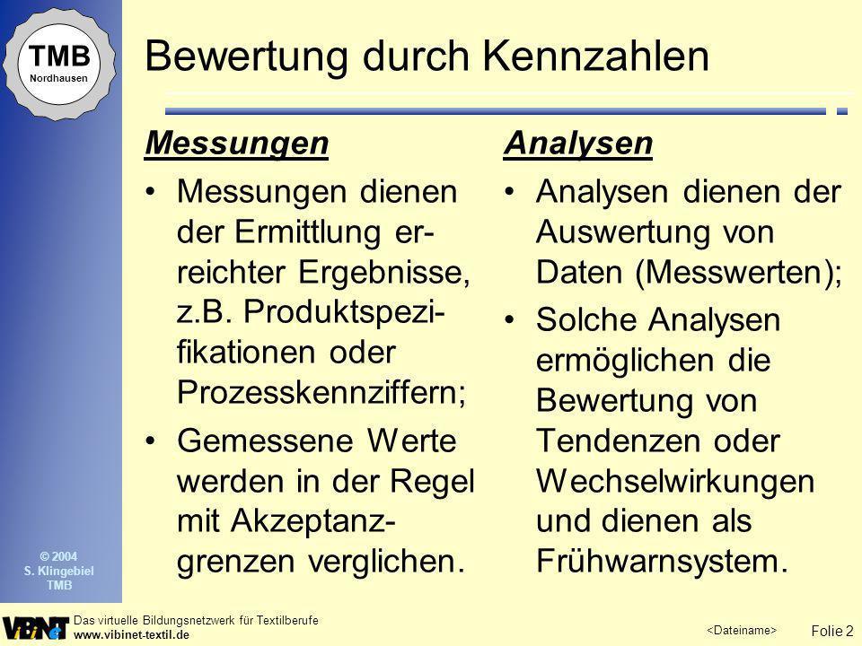 Folie 2 Das virtuelle Bildungsnetzwerk für Textilberufe www.vibinet-textil.de TMB Nordhausen © 2004 S. Klingebiel TMB Bewertung durch Kennzahlen Messu