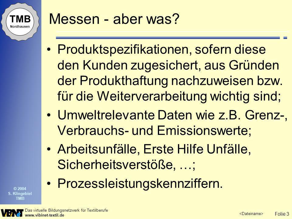 Folie 3 Das virtuelle Bildungsnetzwerk für Textilberufe www.vibinet-textil.de TMB Nordhausen © 2004 S. Klingebiel TMB Messen - aber was? Produktspezif