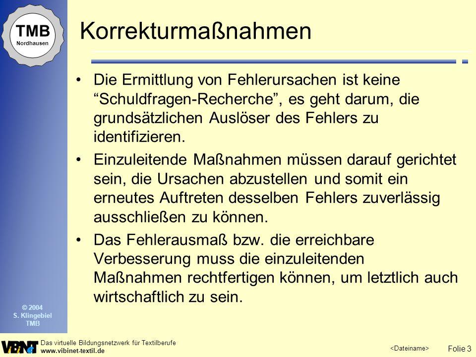 Folie 3 Das virtuelle Bildungsnetzwerk für Textilberufe www.vibinet-textil.de TMB Nordhausen © 2004 S. Klingebiel TMB Korrekturmaßnahmen Die Ermittlun