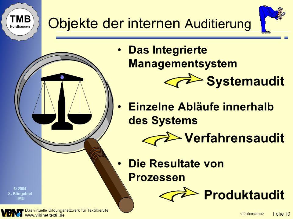 Folie 10 Das virtuelle Bildungsnetzwerk für Textilberufe www.vibinet-textil.de TMB Nordhausen © 2004 S. Klingebiel TMB Objekte der internen Auditierun