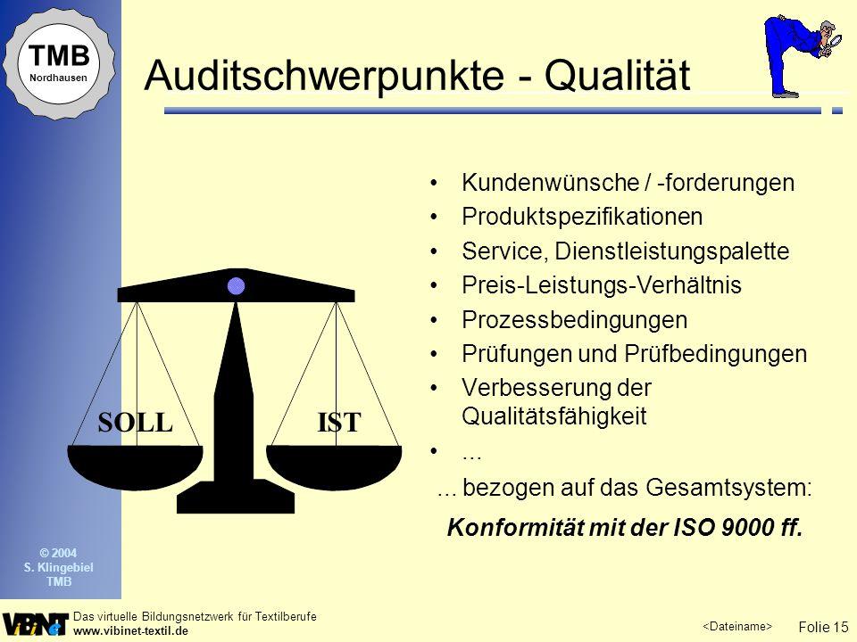 Folie 15 Das virtuelle Bildungsnetzwerk für Textilberufe www.vibinet-textil.de TMB Nordhausen © 2004 S. Klingebiel TMB Auditschwerpunkte - Qualität Ku