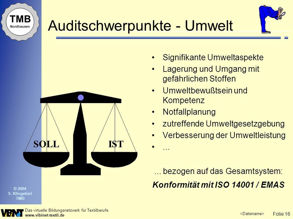 Folie 16 Das virtuelle Bildungsnetzwerk für Textilberufe www.vibinet-textil.de TMB Nordhausen © 2004 S. Klingebiel TMB Auditschwerpunkte - Umwelt Sign