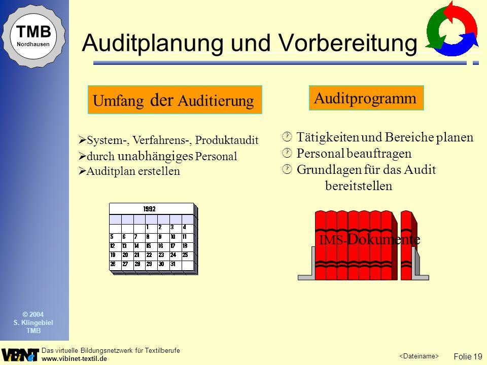 Folie 19 Das virtuelle Bildungsnetzwerk für Textilberufe www.vibinet-textil.de TMB Nordhausen © 2004 S. Klingebiel TMB Auditplanung und Vorbereitung U