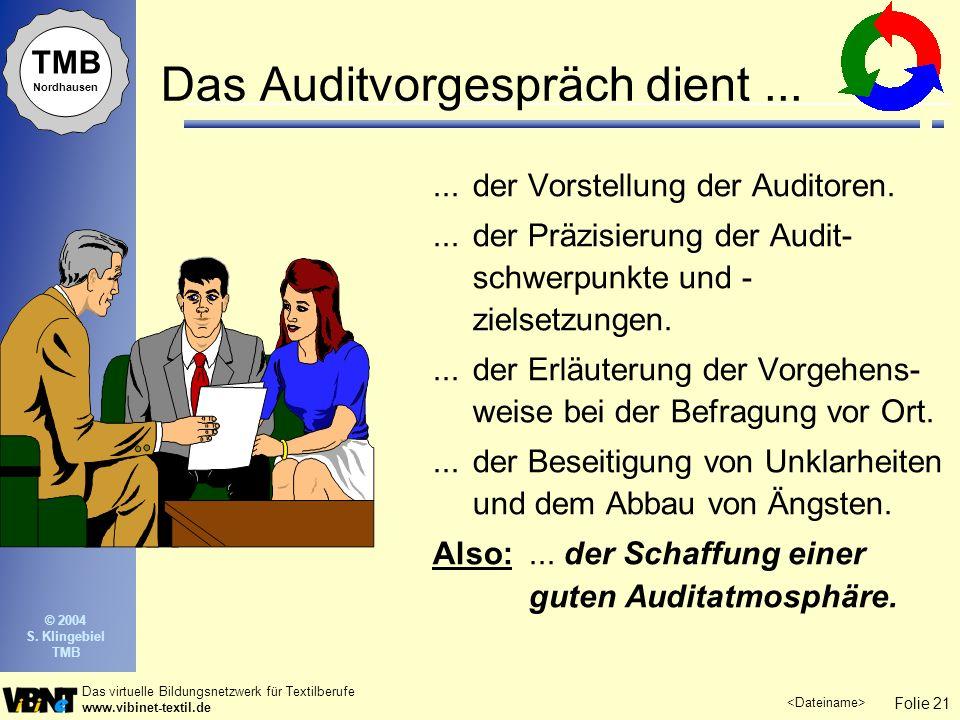 Folie 21 Das virtuelle Bildungsnetzwerk für Textilberufe www.vibinet-textil.de TMB Nordhausen © 2004 S. Klingebiel TMB Das Auditvorgespräch dient.....