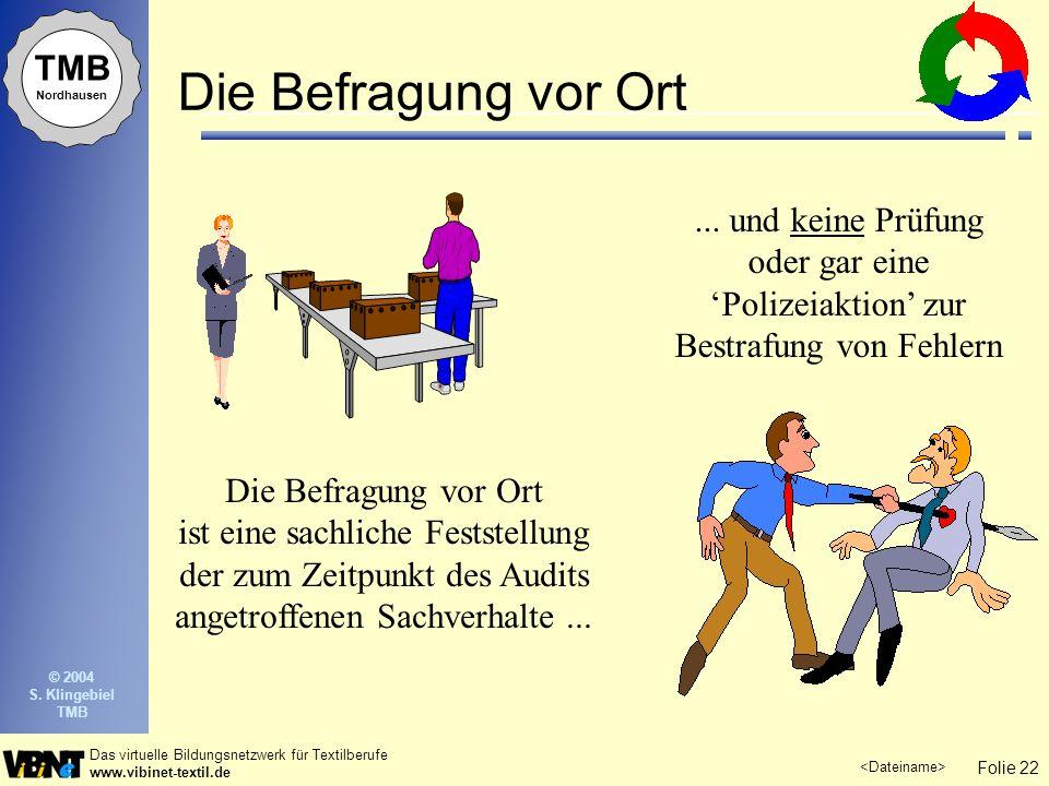 Folie 22 Das virtuelle Bildungsnetzwerk für Textilberufe www.vibinet-textil.de TMB Nordhausen © 2004 S. Klingebiel TMB Die Befragung vor Ort ist eine