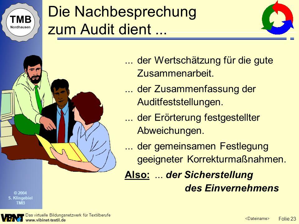 Folie 23 Das virtuelle Bildungsnetzwerk für Textilberufe www.vibinet-textil.de TMB Nordhausen © 2004 S. Klingebiel TMB Die Nachbesprechung zum Audit d
