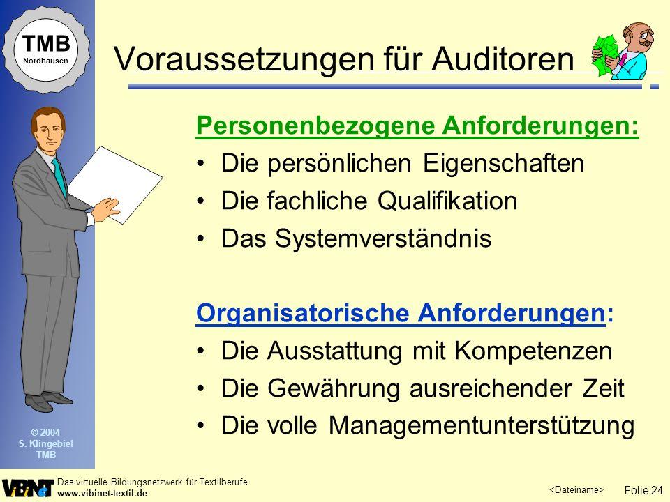 Folie 24 Das virtuelle Bildungsnetzwerk für Textilberufe www.vibinet-textil.de TMB Nordhausen © 2004 S. Klingebiel TMB Voraussetzungen für Auditoren P