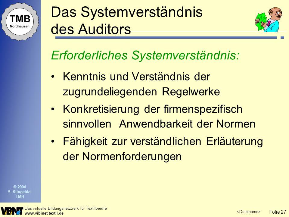 Folie 27 Das virtuelle Bildungsnetzwerk für Textilberufe www.vibinet-textil.de TMB Nordhausen © 2004 S. Klingebiel TMB Das Systemverständnis des Audit