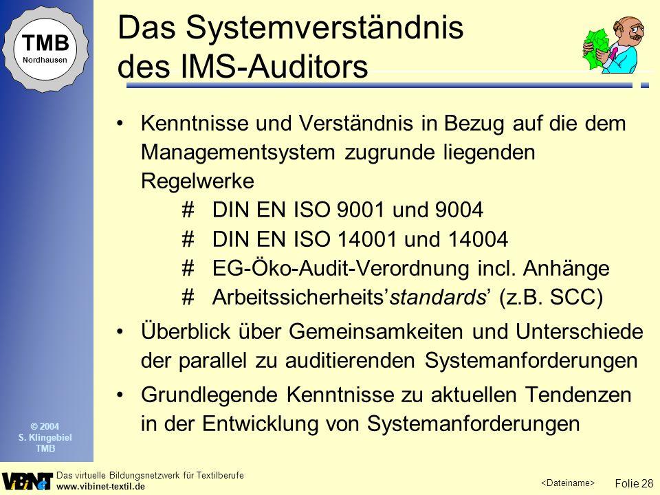 Folie 28 Das virtuelle Bildungsnetzwerk für Textilberufe www.vibinet-textil.de TMB Nordhausen © 2004 S. Klingebiel TMB Das Systemverständnis des IMS-A