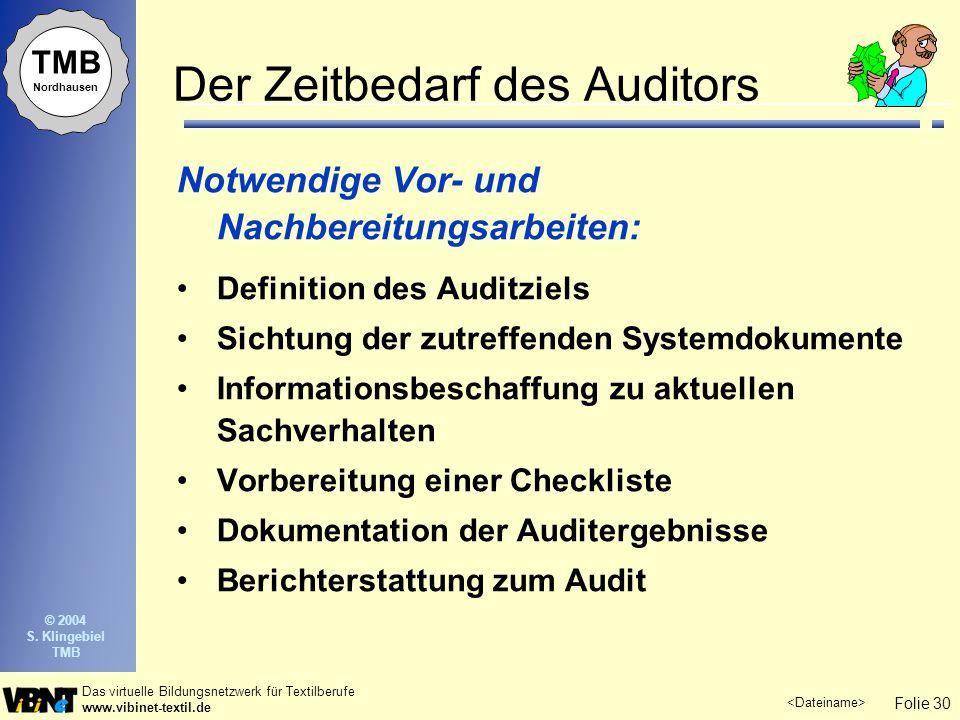 Folie 30 Das virtuelle Bildungsnetzwerk für Textilberufe www.vibinet-textil.de TMB Nordhausen © 2004 S. Klingebiel TMB Der Zeitbedarf des Auditors Not