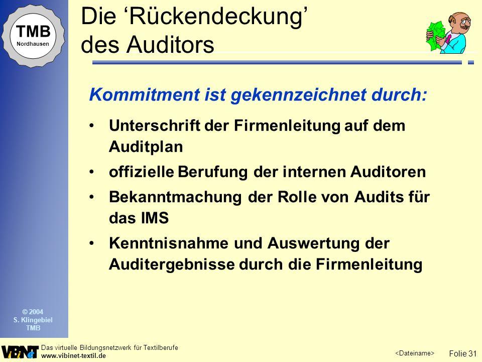 Folie 31 Das virtuelle Bildungsnetzwerk für Textilberufe www.vibinet-textil.de TMB Nordhausen © 2004 S. Klingebiel TMB Die Rückendeckung des Auditors