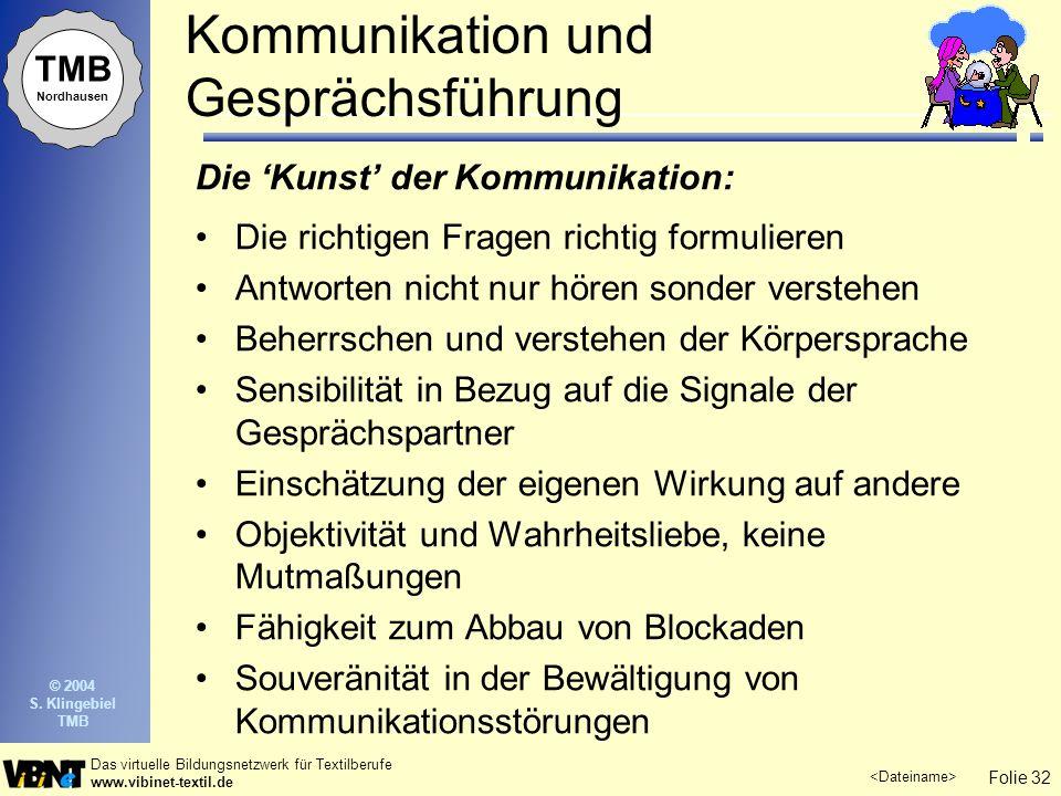 Folie 32 Das virtuelle Bildungsnetzwerk für Textilberufe www.vibinet-textil.de TMB Nordhausen © 2004 S. Klingebiel TMB Kommunikation und Gesprächsführ