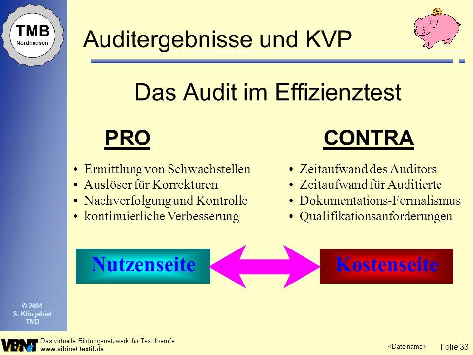 Folie 33 Das virtuelle Bildungsnetzwerk für Textilberufe www.vibinet-textil.de TMB Nordhausen © 2004 S. Klingebiel TMB Auditergebnisse und KVP Das Aud