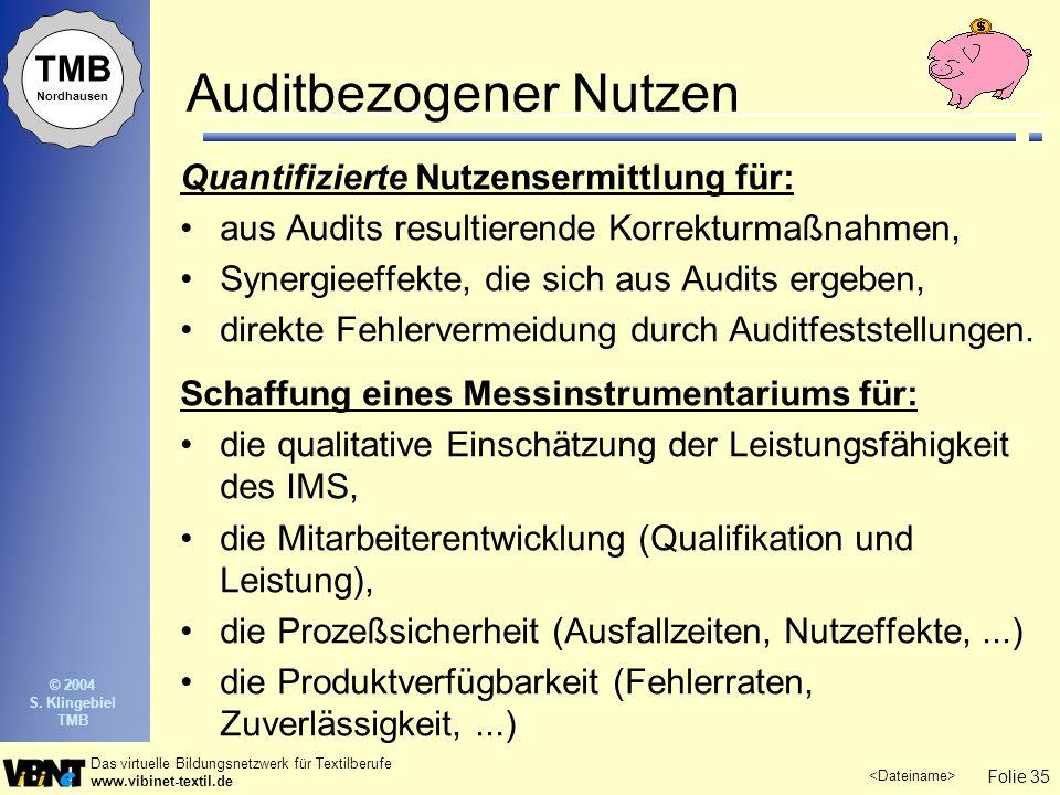 Folie 35 Das virtuelle Bildungsnetzwerk für Textilberufe www.vibinet-textil.de TMB Nordhausen © 2004 S. Klingebiel TMB Auditbezogener Nutzen Quantifiz