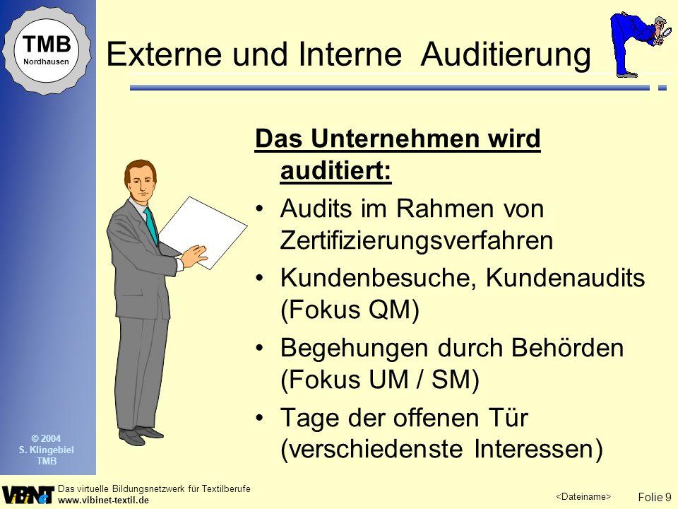 Folie 9 Das virtuelle Bildungsnetzwerk für Textilberufe www.vibinet-textil.de TMB Nordhausen © 2004 S. Klingebiel TMB Externe und Interne Auditierung