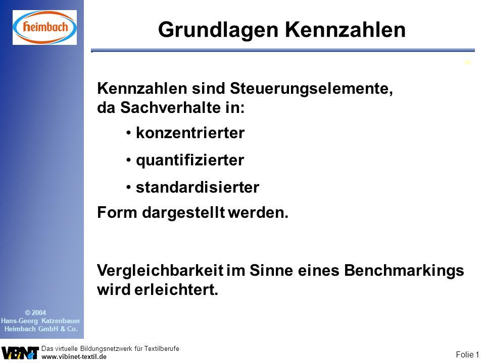 Folie 1 Das virtuelle Bildungsnetzwerk für Textilberufe www.vibinet-textil.de © 2004 Hans-Georg Katzenbauer Heimbach GmbH & Co. Grundlagen Kennzahlen