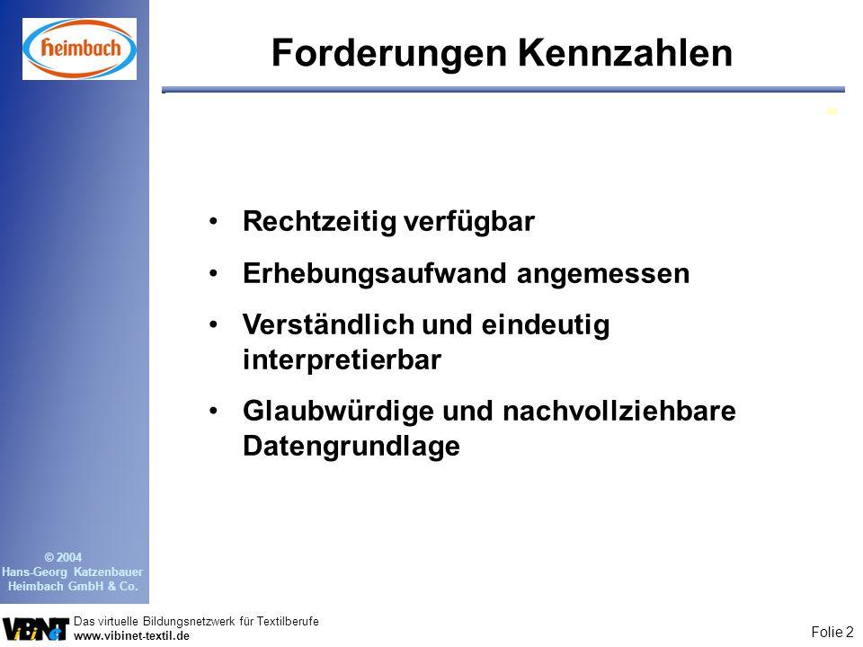 Folie 2 Das virtuelle Bildungsnetzwerk für Textilberufe www.vibinet-textil.de © 2004 Hans-Georg Katzenbauer Heimbach GmbH & Co. Forderungen Kennzahlen