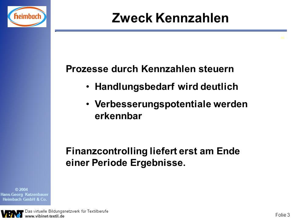Folie 3 Das virtuelle Bildungsnetzwerk für Textilberufe www.vibinet-textil.de © 2004 Hans-Georg Katzenbauer Heimbach GmbH & Co. Zweck Kennzahlen Proze