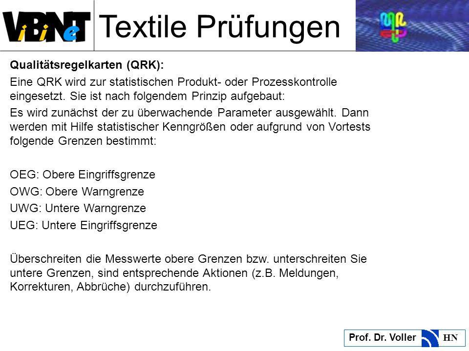 Textile Prüfungen Prof. Dr. Voller HN Qualitätsregelkarten (QRK): Eine QRK wird zur statistischen Produkt- oder Prozesskontrolle eingesetzt. Sie ist n