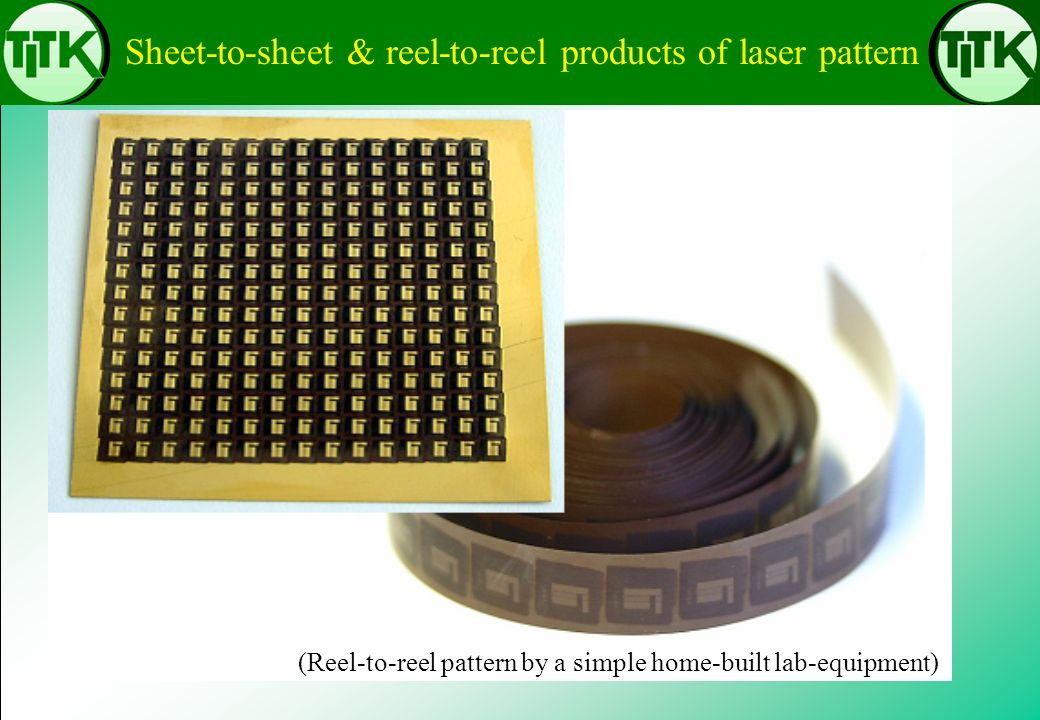 Sheet-to-sheet & reel-to-reel products of laser pattern (Reel-to-reel pattern by a simple home-built lab-equipment)