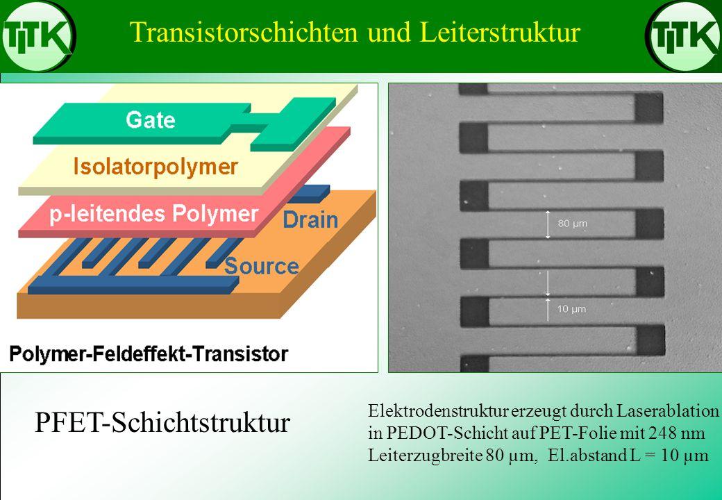 Transistorschichten und Leiterstruktur Elektrodenstruktur erzeugt durch Laserablation in PEDOT-Schicht auf PET-Folie mit 248 nm Leiterzugbreite 80 µm,
