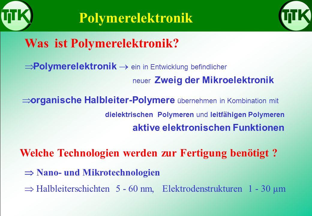 Polymerelektronik ein in Entwicklung befindlicher neuer Zweig der Mikroelektronik Polymerelektronik Was ist Polymerelektronik? Welche Technologien wer