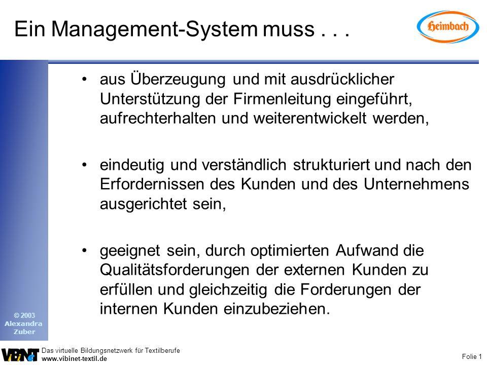 Folie 1 Das virtuelle Bildungsnetzwerk für Textilberufe www.vibinet-textil.de © 2003 Alexandra Zuber Ein Management-System muss...