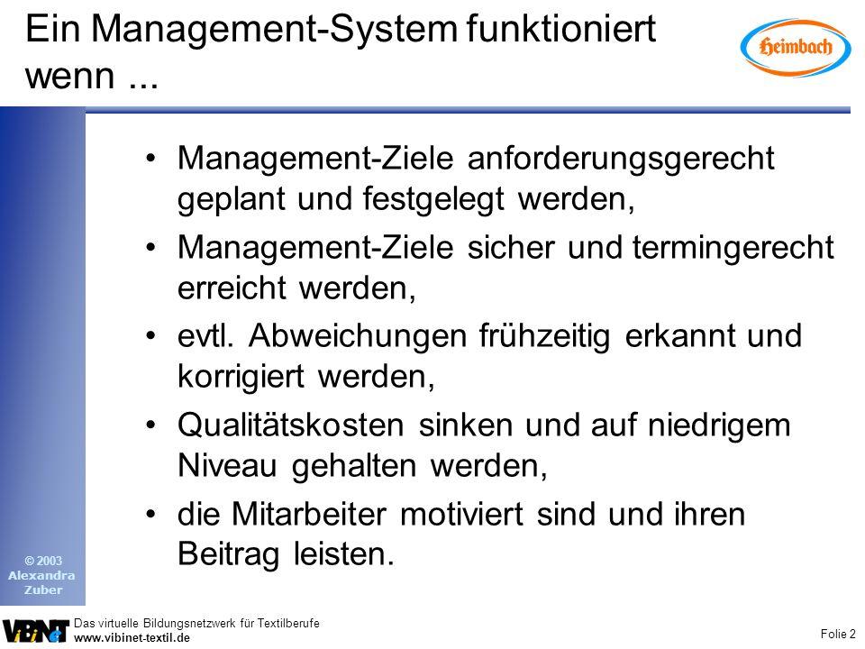 Folie 2 Das virtuelle Bildungsnetzwerk für Textilberufe www.vibinet-textil.de © 2003 Alexandra Zuber Ein Management-System funktioniert wenn...