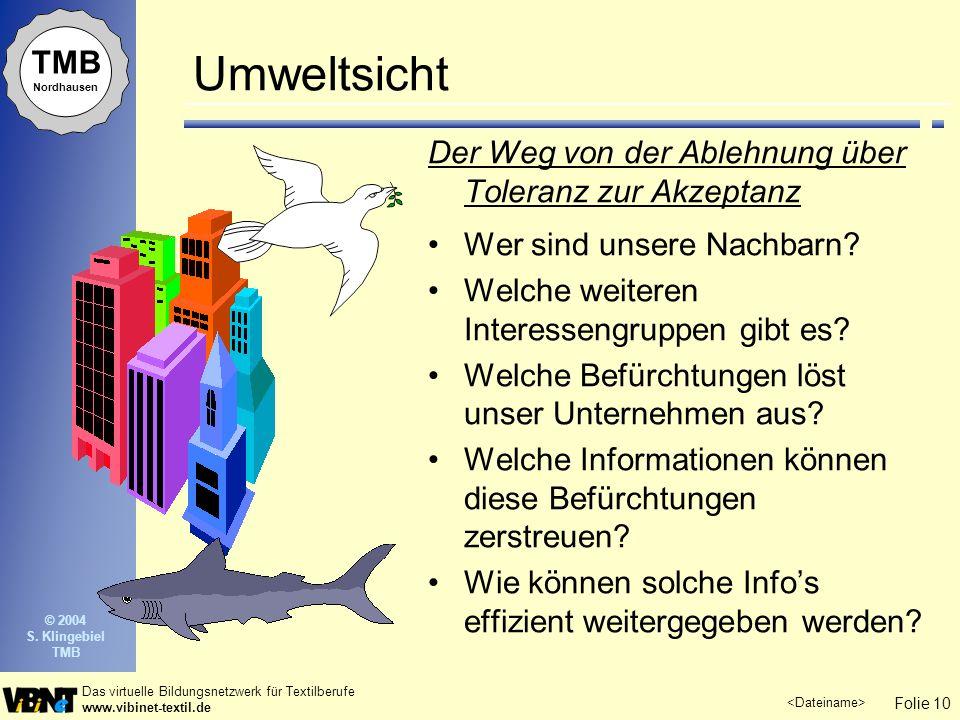 Folie 10 Das virtuelle Bildungsnetzwerk für Textilberufe www.vibinet-textil.de TMB Nordhausen © 2004 S. Klingebiel TMB Umweltsicht Der Weg von der Abl