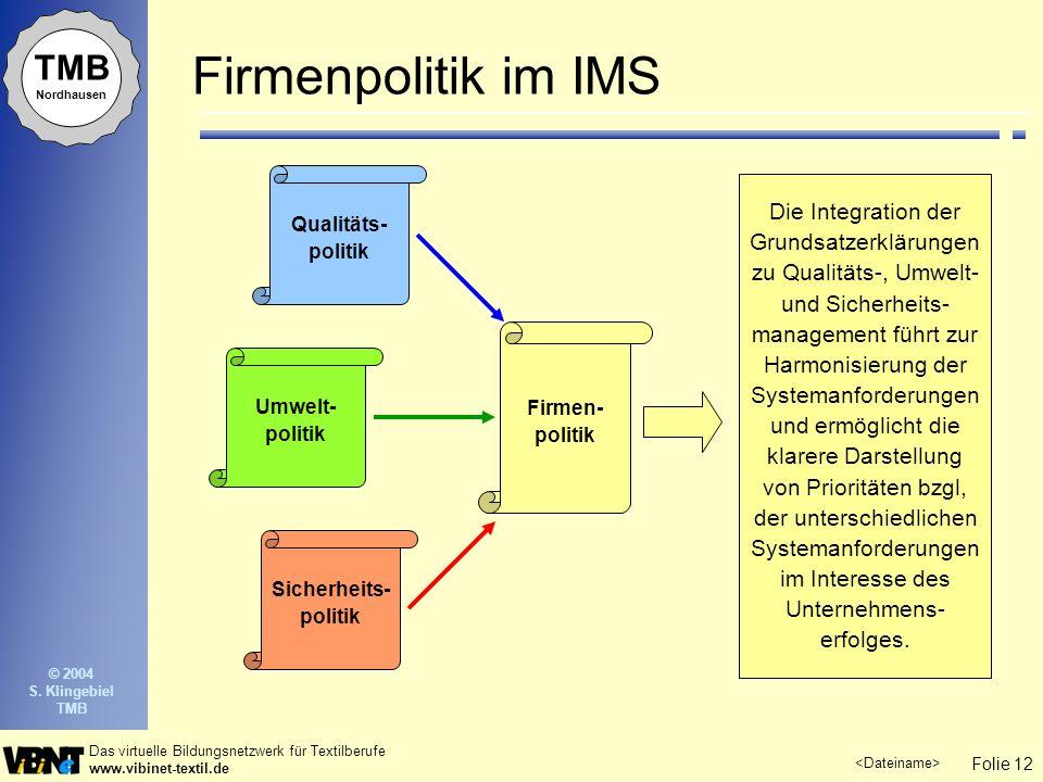 Folie 12 Das virtuelle Bildungsnetzwerk für Textilberufe www.vibinet-textil.de TMB Nordhausen © 2004 S.