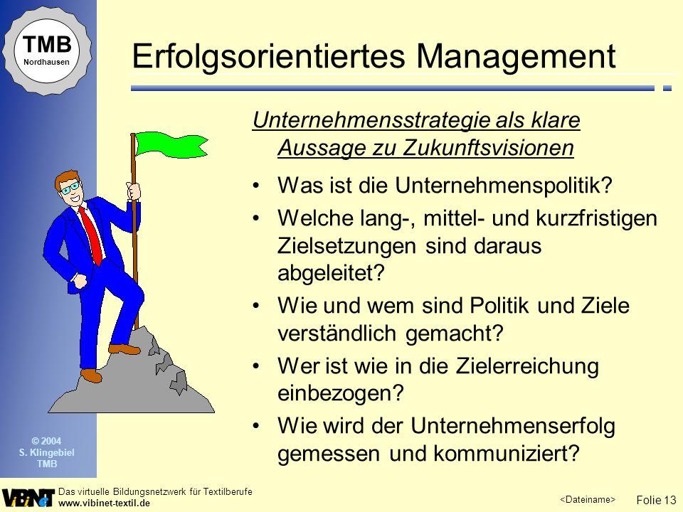 Folie 13 Das virtuelle Bildungsnetzwerk für Textilberufe www.vibinet-textil.de TMB Nordhausen © 2004 S.